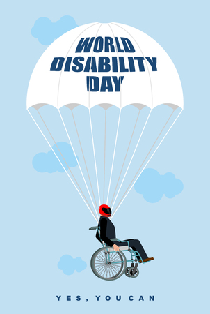 discapacitados: Día Mundial de la Discapacidad. Hombre en silla de ruedas se cae en paracaídas. Deshabilitado en las moscas de casco protector. Sí tu puedes. Cartel para el Día Internacional de las Personas con Discapacidad.
