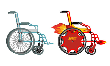 Standard and custom wheelchair. Armchair with turbo engine for high speed. Turbine with fire. Racing in wheelchairs for persons with disabilities. Vectores