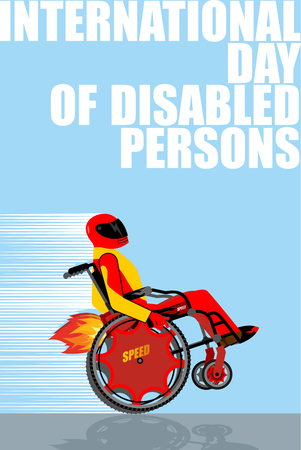 air awareness: International Day of Persons with Disabilities. Man on  wheelchair goes with great speed. Turbo engine with fire. Disabled person on powerful high-speed Chair. Racer in protective helmet