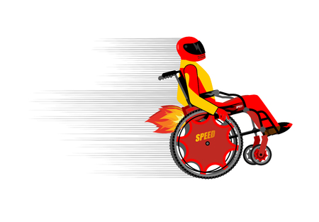 turbo: Disabled person in wheelchair wit turbo engine. Speed riding to racing. People in protective helmet and costume. Sports wheelchair race.
