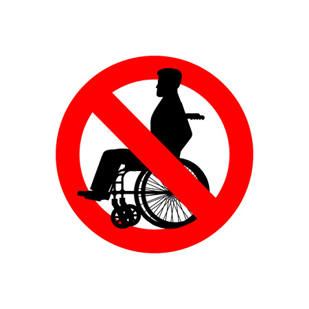 Stop disabled. Prohibited person on wheelchair. Ban for people with disabilities. Red forbidding sign