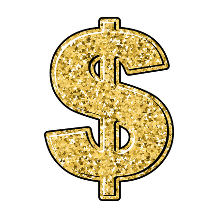 precious metal: Gold dollar. Currency sign of precious metal. American national money. Illustration