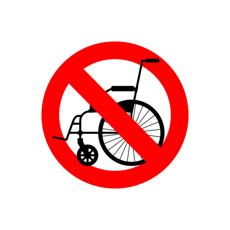 physical impairment: Stop wheelchair. Prohibited disability. Ban for people with disabilities. Red forbidding character.