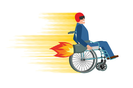 turbine engine: Wheelchair with turbo engine. Disabled fast rides. Man in Chair in Moto helmet. Turbine fire Illustration