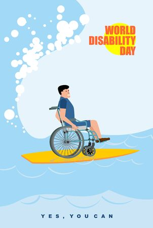persona en silla de ruedas: Día Mundial Discapacidad. Hombre en silla de ruedas flota en la Junta para el surf. Discapacitados en juego protector de surf en la cresta de la ola en el océano. Sí puedes. Cartel para el Día Internacional de las Personas con Discapacidad.