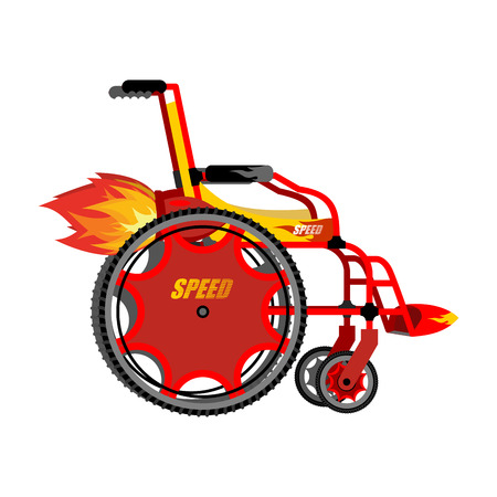 hot seat: High-speed wheelchair. Chair for disabled with Turbo acceleration. Turbo turbine and engine fire. Chair for speed. Pushchair for disabled person.  Turbocharger for racing Illustration