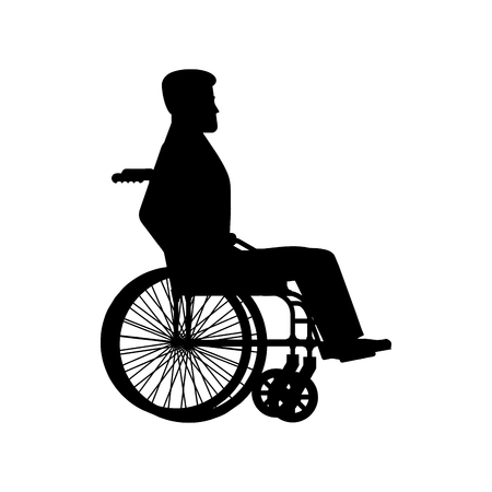 sits: Disabled wheelchair silhouette. Man sits in carriage with wheels. Illustration