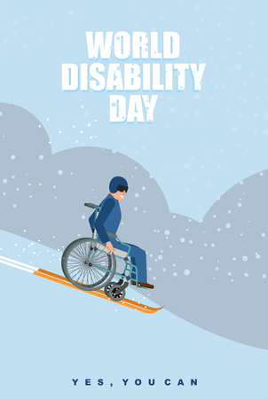 discapacidad: D�a Mundial Discapacidad. Hombre en silla de ruedas va a esquiar en la monta�a. Discapacitados en casco protector se desliza en invierno Hill. S� puedes. Cartel para el D�a Internacional de las Personas con Discapacidad. Vectores