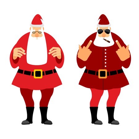 design bad: Bad and good Santa Claus. Wicked Christmas Santa with igaretoj, shows fuck. Good Santa with glasses and red caftan. Illustration