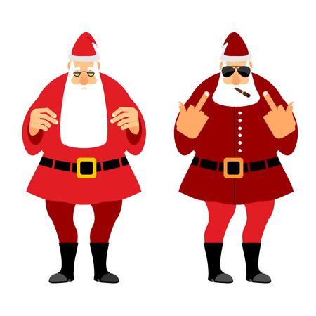 Bad and good Santa Claus. Wicked Christmas Santa with igaretoj, shows fuck. Good Santa with glasses and red caftan. Illustration