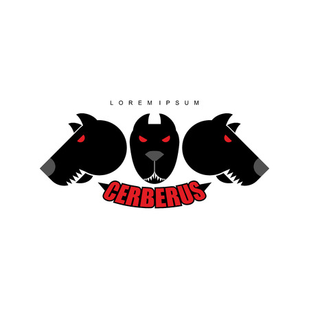 red eyes: Cerberus-Warrior dog. Logo of  heads of dogs. Scary animal with evil red eyes. Illustration