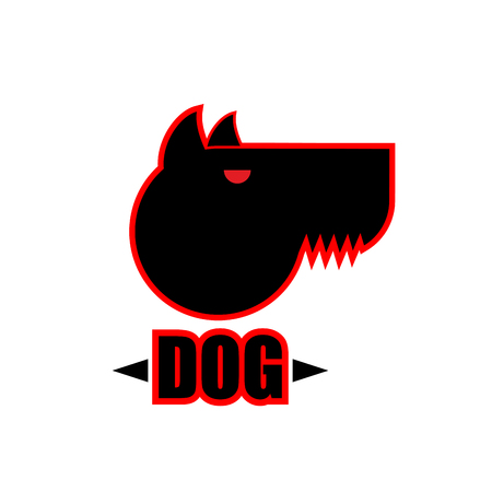 perro furioso: Logo of angry dog with strong collar. Aggressive pet.