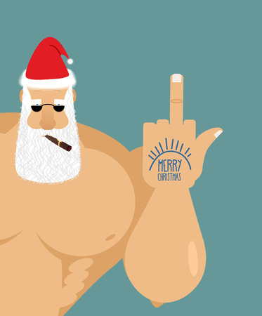 Bully bad Santa Claus shows fuck. Old grandfather with  cigar and sunglasses. Christmas Cap.