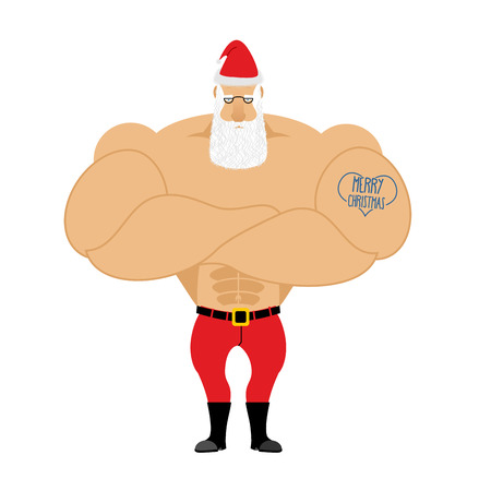 Strong Santa Claus. Santa with big muscles. Old bodybuilder with tattoo. Athlete old man in red shorts and Cap.