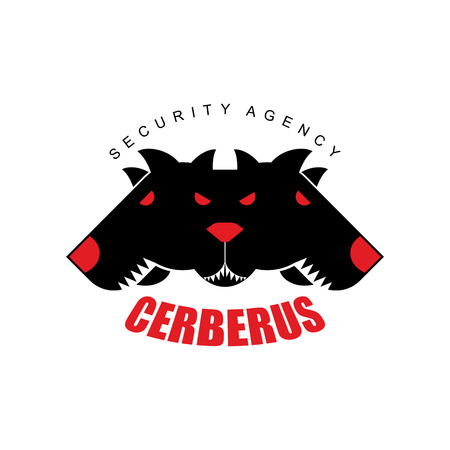 security company: Security Agency, Cerberus. Logo for  security company. Three angry dog head with large teeth.