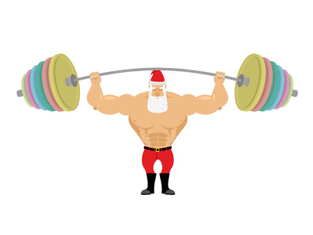 Kerstman en barbell. Bankdrukken barbell boven zijn hoofd. Oefeningen voor de schouders. Sterke Krachtige oude man met grijze baard. Fabulous opa krachtpatser.