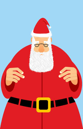 red beard: Santa Claus in red dress. Christmas character with white beard. Christmas old man in glasses.