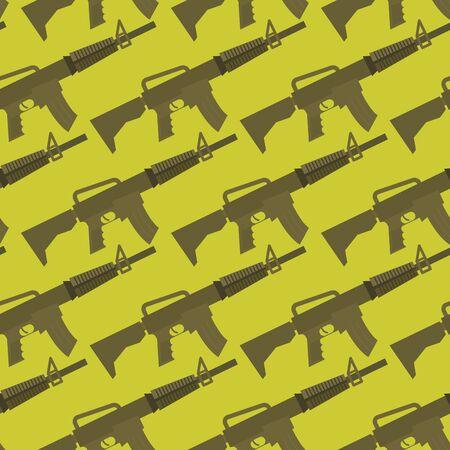 automatic rifle: Automatic gun seamless pattern. Military background. Weapons ornament. Many Army M16 rifle. Illustration