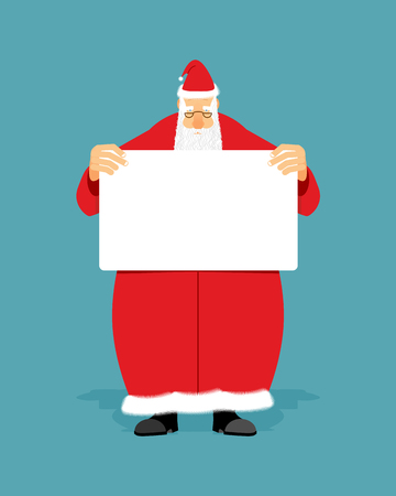 man holding a blank sign: Good Santa Claus holding blank sign with space for text. Christmas man with white paper. Christmas Santa in red coat with  white banner.