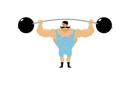 Vintage Strongman. Ancient athlete. Retro bodybuilder barbell. Strong power Circus actor. Vectores
