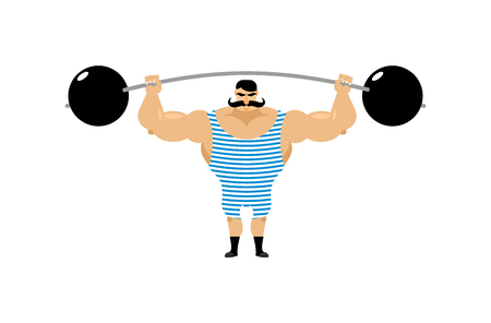 Vintage Strongman. Ancient athlete. Retro bodybuilder barbell. Strong power Circus actor.  イラスト・ベクター素材