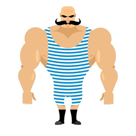 hombre fuerte: deportista fuerte retro. culturista antiguo con bigote. Atleta en mono rayado. artista de circo fuerte. Vectores
