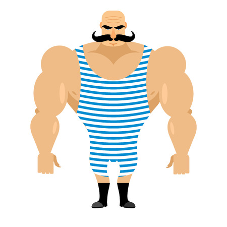 man and banner: Retro strongman sportsman. Ancient bodybuilder with mustache. Athlete in striped jumpsuit. Strong circus performer.