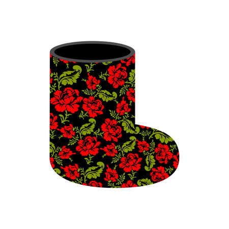 valenki: Valenki - Russian traditional winter boots. National shoe from felt. Warm accessory with floral texture khokhloma.