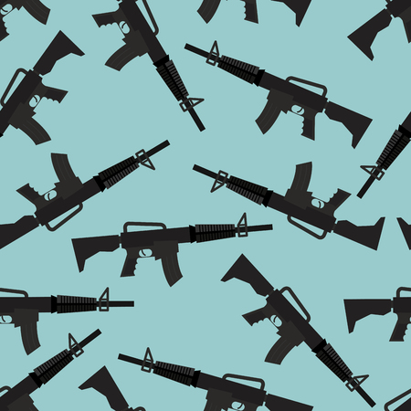 automatic rifle: Automatic rifle M16 seamless pattern. Arms on blue background. Military ornament gun.