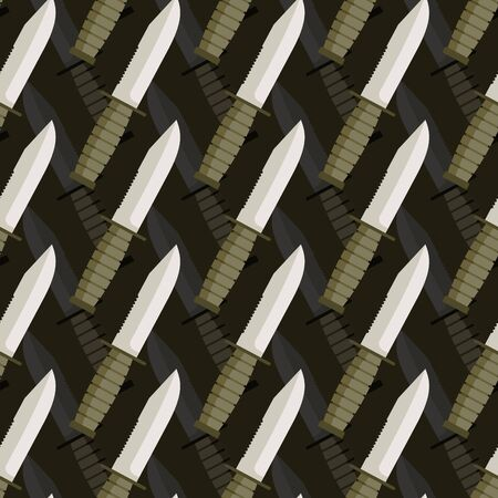 dagger: Military dagger seamless pattern. 3d background of knives. Army ornament.