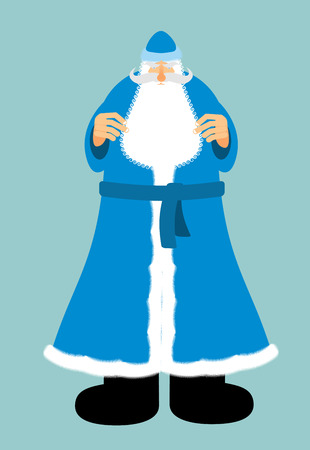moroz: Russian Santa Claus in blue clothes. New year old man with beard and mustache. Christmas character Illustration