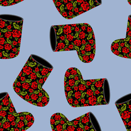 valenki: Valenki khokhloma seamless pattern. National Russian winter footwear from felt. Traditional ornament embroidery on black warm shoes.