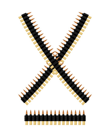 cartridge belt: Bandolier with bullets. Ammunition belt. Tape cartridges for submachine gun. Army equipment.