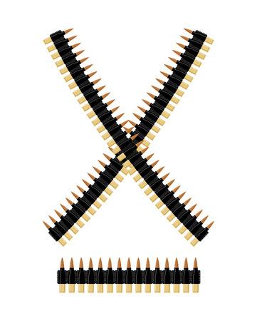 탄약: Bandolier with bullets. Ammunition belt. Tape cartridges for submachine gun. Army equipment.