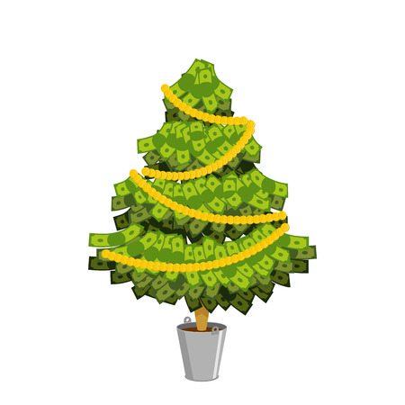 paper money: Money Tree. Christmas tree from dollar. Leaves from currency banknotes. Tree of cash. Financial tree with decoration of coins.