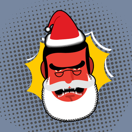 villain: Evil Angry Santa Claus. Red with anger person Swears and shouts. Villain with white beard and glasses. Christmas character pop art  style.