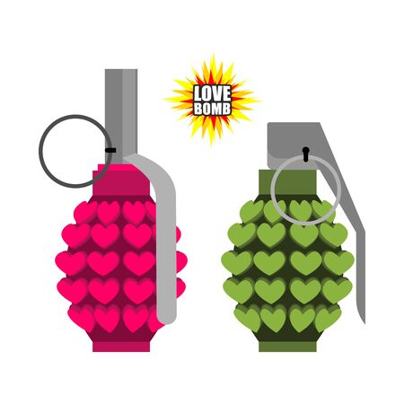 munition: Love bomb. Hand grenade from  hearts. Pink military projectile hippies. Munition with love. Breaking world war bomb. Illustration