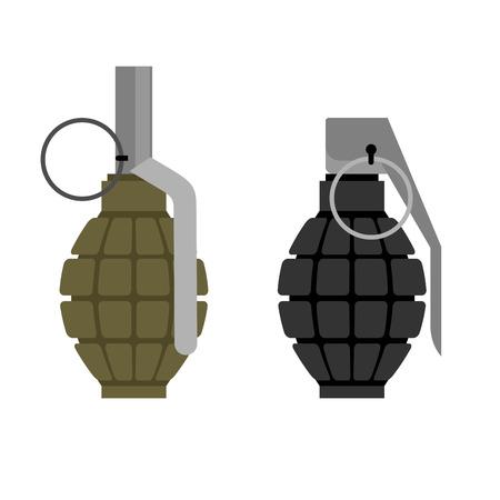 탄약: Military grenade. Set of military hand grenade: green and black. Ammunition soldier.