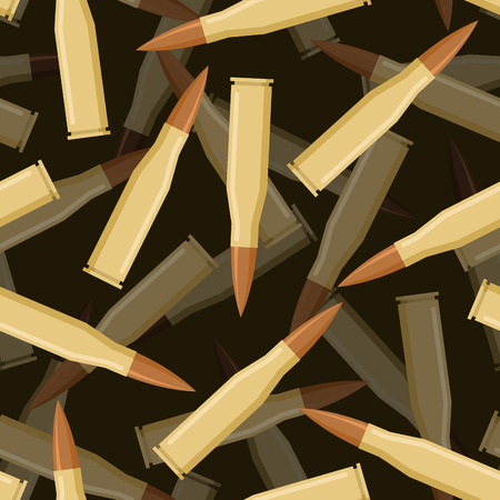 Bullets 3d seamless pattern. Texture of military ammunition. Cartridges for rifles and submachine gun.