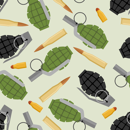 ammo: Military ammo seamless pattern. Grenade and Ammo military texture. Manual bursting grenades and cartridges for submachine gun.
