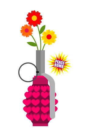 Hand grenade with hearts. Army equipment. Pink military ordnance. Army missile for love. World love bomb inside. Weapons Of  Hippies. Flowers in military ammo Illustration