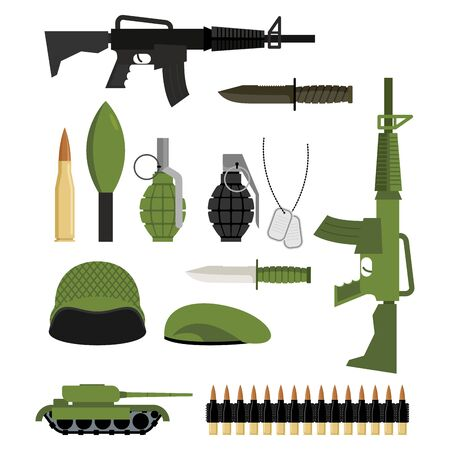 panzer: Set of icons for weapons of war. Military units: tank and grenade. Soldiers helmet and green beret. Automatic and warhead. Military collection of weapons.