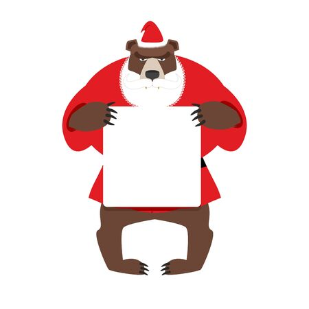 keep in: Santa bear keep clean banner with space for text. Wild animal with beard and moustache. Woodland Beast in clothes of Santa Claus: red jacket and Christmas hat.