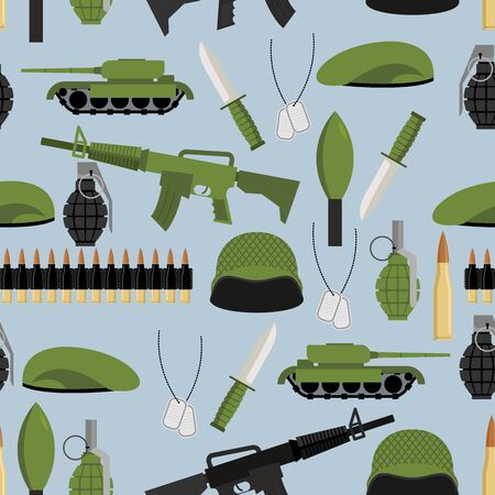 Army seamless pattern. Arms background. Tanks and hand grenade. Automatic and green beret. Soldiers texture. Ornament of military: soldiers helmet and badge. Bandolier and knife. Illustration
