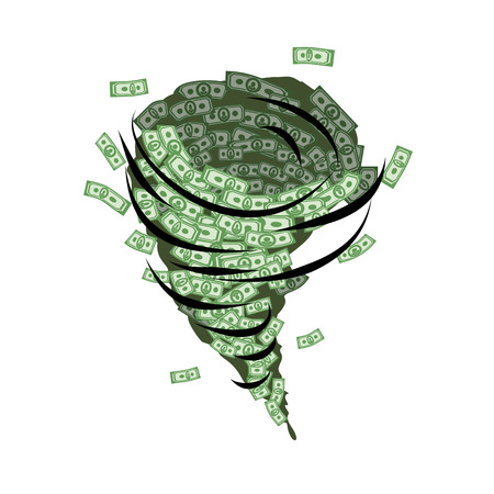 Money tornado. Whirlwind of dollars. Hurricane cash. Destructive funnel wind picks up and blows money. Financial whirlwind.