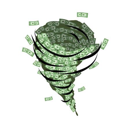 cash flows: Money tornado. Whirlwind of dollars. Hurricane cash. Destructive funnel wind picks up and blows money. Financial whirlwind.