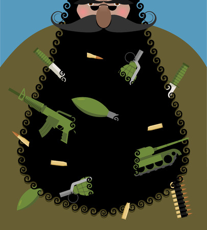 gangster with gun: Santa Claus is terrorist with black beard. Evil Santa with arms in beard: automatic gun and grenade. Army knife and tank. Gangster Christmas. Bully grandfather. Illustration