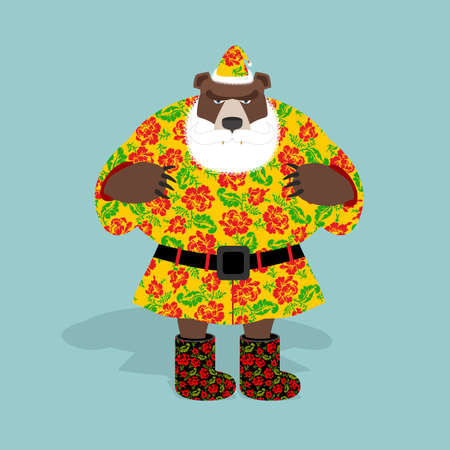 guise: Russian bear in guise of snata Claus. Wild animal in Christmas attire. New years character. Russian national texture.