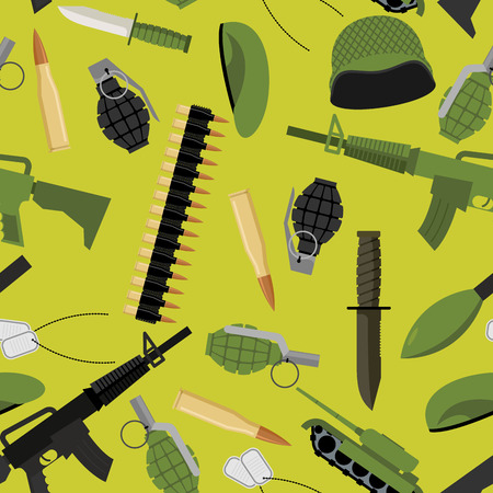 green beret: Military seamless pattern. Army background objects. Weapons and ammunition texture. Tank and automatic. Hand grenade and soldiers badge. Military protective helmet and green beret. Army knife and ammunition belt. Illustration