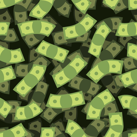money flying: Dinero sin patrón. Fondo de caja. Dinero lluvia. Volar dólares. Textura 3D de dinero en efectivo. Repitiendo Financiera Adorno. Vectores